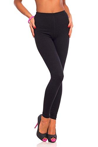 FUTURO FASHION FUTURO FASHION Frauen in voller Länge Baumwolle Leggings weich, plus Größen, Schwarz, Klassische Taille 44