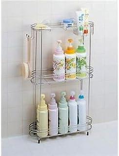 シャンプーラック(シャワーラック/浴室収納棚) 3段 ステンレス製 石けん皿/フック/アジャスター付き