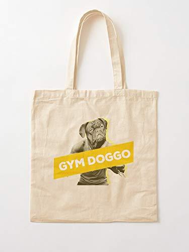 Funny Animal Fitness Dog Gym Tote Cotton Very Bag | Bolsas de supermercado de lona Bolsas de mano con asas Bolsas de algodón duraderas