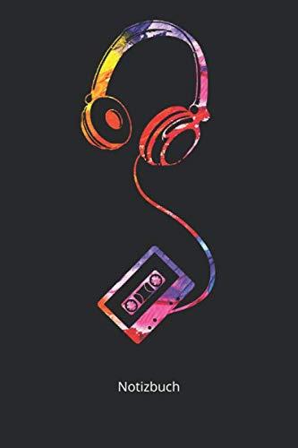 Notizbuch: Kassetten Kopfhörer Stylisches Headset Musik DJ Geschenk (Liniertes Notizbuch mit 100 Seiten für Eintragungen aller Art)