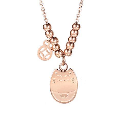 Collana in acciaio al titanio placcato in oro rosa 18 carati con collana Doraemon, moda femminile, catena clavicola