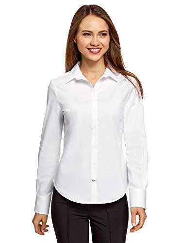 oodji Ultra Donna Camicia Basic in Cotone, Bianco, IT 42 / EU 38 / S