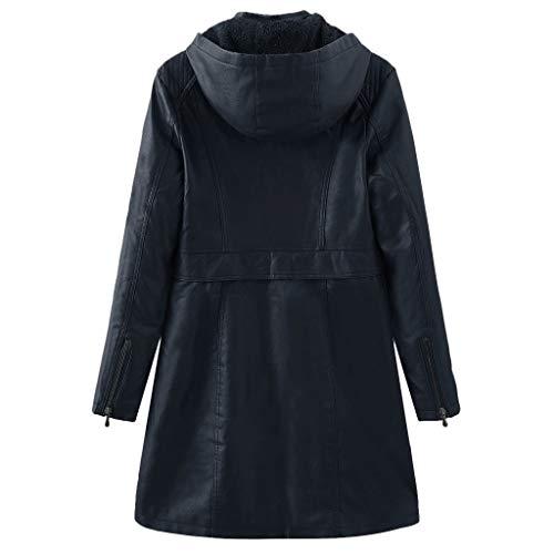 Damen Jacke Kolylong® Frauen Elegant Lang Lederjacke Reißverschluss Spleiß-Jacken-dünne Jacken Mode Elegant Wunderschön Streetwear Kleidung Bluse Tops mit Kapuzen und Tasche Outwear