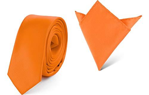Ladeheid Set Cravatta Slim e Fazzoletto Taschino Uomo SP/P (150cm x 5cm, 22cm x 22cm, Arancione)
