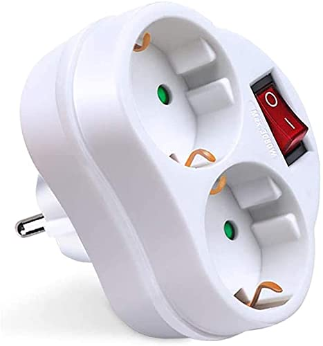 Schuko-Adapter mit 2 Steckdosen mit Schalter, Farbe: 16 A, 250 V, max. 3680 W.