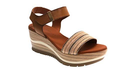 Sandalias con Velcro 11-54 para Mujer (Tostado, Numeric_39)