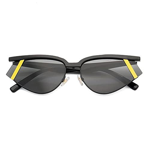 QFSLR Moda Y Gafas De Sol De Medio Marco Coloridas para Mujer Gafas De Sol Protectoras para Hombre UV400,B