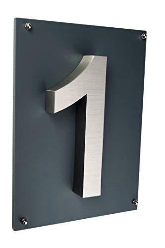 Hausnummer 1 Hausschild Edelstahl V2A wählbar 1 2 3 4 5 6 7 8 9 Arial 2D Design oder 3D Design und 1 x Acrylplatte 29cm x 21cm in anthrazit (1 (3D,Arial))