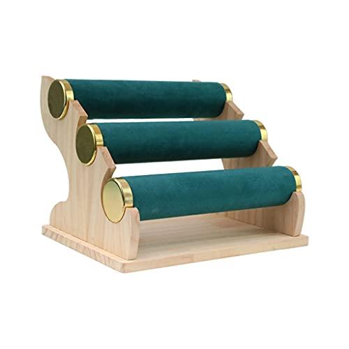 Hellery Soporte de Pulsera de 3 Niveles, Soporte Y Exhibición de Organizador de Joyería de Terciopelo, Soporte de Exhibición de Pulsera Desmontable, Organizac - Verde