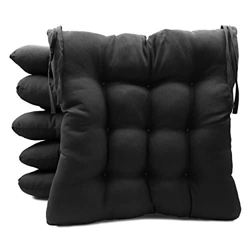 Pack de 6 Cojines para Sillas de Exterior e Interior Reversibles 40 x 40 x 7 cm, con Correas de Sujeción (Negro)
