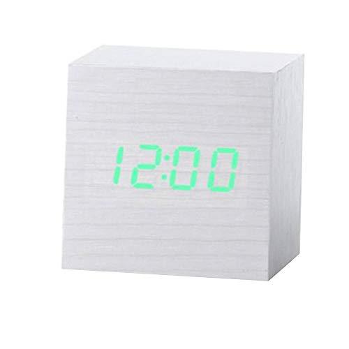 Alarmklocker8B sound-control, meerkleurig, vierkant, van hout, led-wekker, tafelthermometer, digitaal, USB-tafelthermometer, van hout, AAA-weergave 7x7x7(cm)9