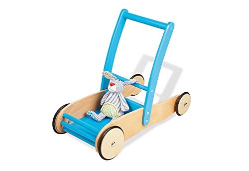Pinolino Lauflernwagen Uli, aus Holz, mit Bremssystem, Lauflernhilfe mit gummierten Holzrädern, für Kinder von 1 – 6 Jahren, türkis