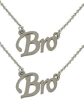 Utkarsh (Set Of 2 Pcs) Silver Color Fancy & Stylish Trending Metal Stainless Steel Bro Name Letter Locket Pendant Necklace...