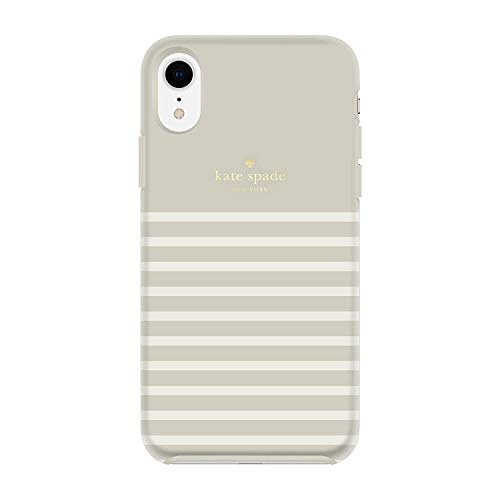 Kate Spade New York Phone Case | for Apple iPhone X and XS | Protective Phone Cases with Slim Design, Drop Protection, Black with Cream Stripes (Cream-Stripe)