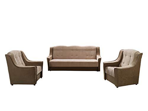 Mirjan24 Polstergarnitur Niagara 3+1+1, Sofa mit Bettkasten und Schlaffunktion + Zwei Sessels, Armchair, Bettsofa, Couch, Komfortsofa, Polstermöbel (Ibiza...