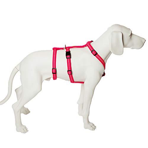 Feltmann No Exit ausbruchsicheres Hundegeschirr für Angsthund, Sicherheitsgeschirr für Pflegehunde, Panikgeschirr, Super Soft, pink, Bauchumfang 40-60 cm, 15 mm Bandbreite