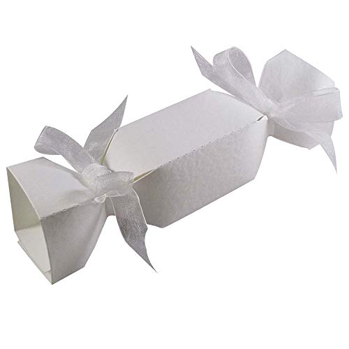 10 x Hammered White Christmas Cracker Boxes Christmas Favour Boxes