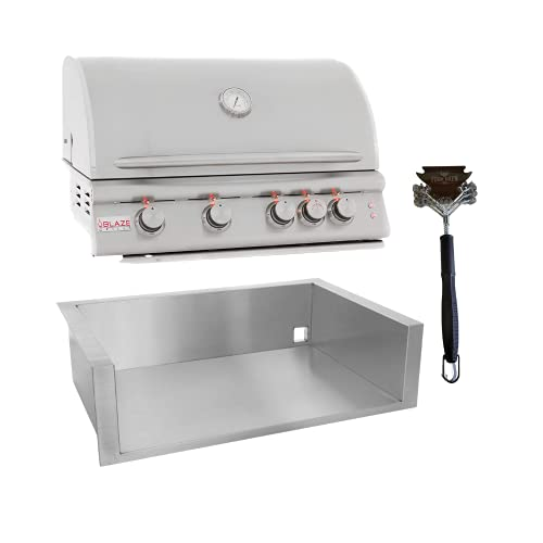 Blaze Grills (BLZ-4LTE2-NG) Intelligent 32-Inch Built-in 4-Burner Natural Gas Outdoor Grill, Blaze Insulated Jacket (BLZ-4-IJ), and Four Oxen BBQ Grill Brush Bundle Gas Grills Natural