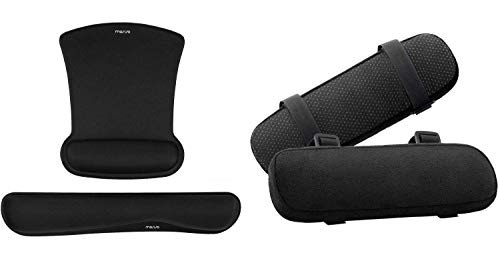 MOSISO Chair Armrest Pads 2 Pack & Gel Keyboard Wrist Rest Pad Foam Cushion Wrist Rests Mouse Pad, Black