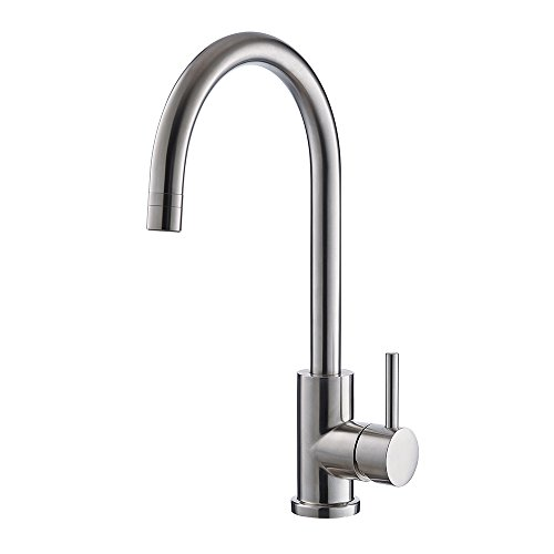 Trywell T304 Solid Stainless Steel Kitchen Sink Faucet, High Arc Single Lever Bar Faucet with Two-function Nozzle,1.8 Gpm
