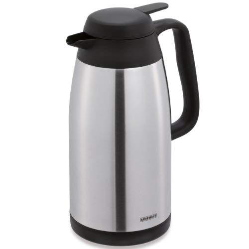 Leifheit Style 1, 5 L Isolierkanne, 100% dicht, Thermoskanne mit doppelwandigem Edelstahl-Isolierkörper, praktisches Öffnen und Schließen mit einer Hand, Kaffekanne, Teekanne, silber schwarz