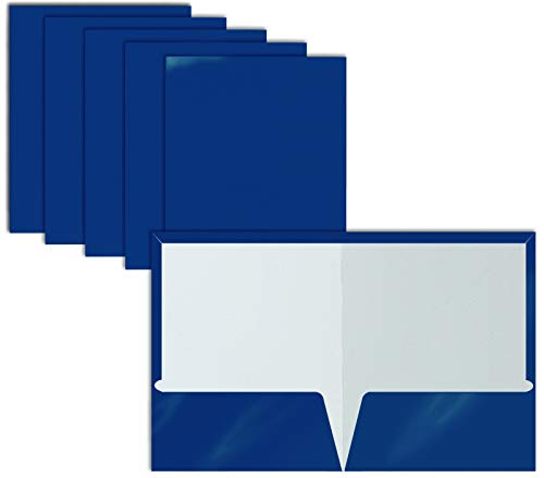 2 Pocket Glossy Laminated Blue Paper Folders, Letter Size, Blue Paper Portfolios by Better Office Products, Box of 25 Blue Folders