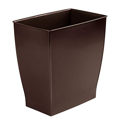 mDesign Rectangular Trash Can Wastebasket Small Garbage Container Bin for Bathrooms Powder Rooms Kitchens Home Offices  ShatterResistant Plastic  Dark Brown
