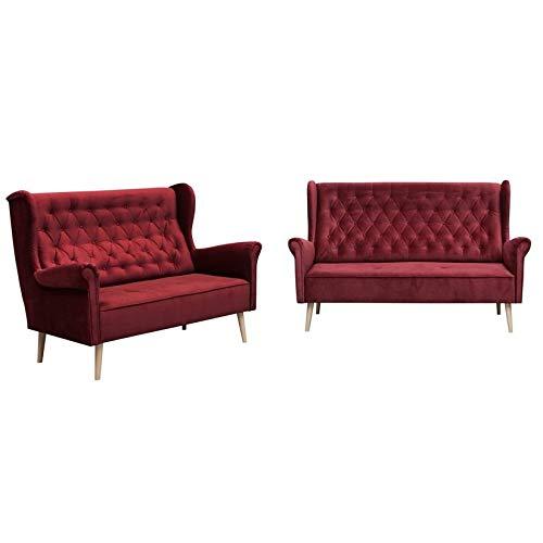 MOEBLO Polstergarnitur Ohrensofa 3 Sitzer 2 Sitzer Sofa Couch Garnitur Stoff Samt (Velour) Glamour Wohnlandschaft Chesterfield - Velo (Burgund)