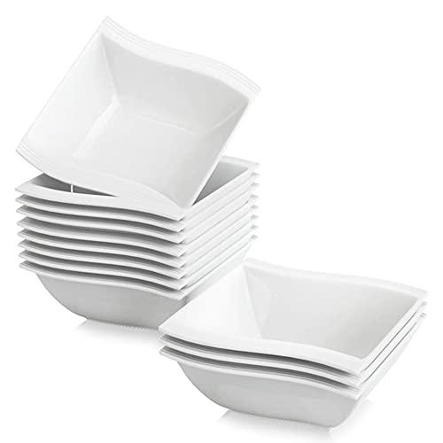 MALACASA, Série Flora, 12pcs Bols à Céréales Bol à Soupe Riz Tapas Sauce Porcelaine 14 * 14.5 * 5.5cm Design Moderne Service Petit Déjeuner