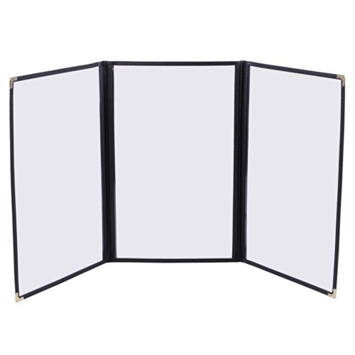 """Yescom 30 Pack Triple Fold Menu Covers 8.5""""x14"""" Protective Double Stitch View Black Restaurant Cafe"""