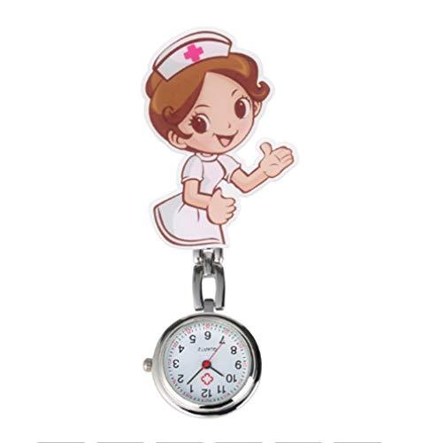 FGMGFTG Reloj de Broche Duradero Elegante Clara números arábigos Blancos Dial Reloj Pendiente Hombres Mujeres Médico de Dibujos Animados/Patrón Enfermera práctica Enfermero Doctor Paramédico Médico