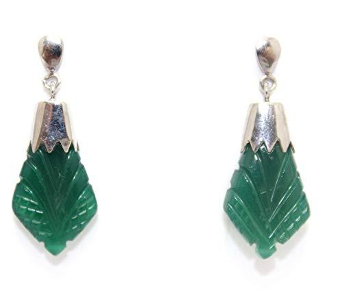 Rajasthan Gems Pendientes colgantes de plata de ley 925 para mujer, piedra de ónix tallada verde de 3,3 cm