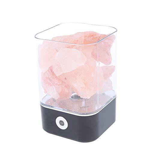 Hellery Warme Farbe USB Natürliche Himalaya Salz Lampe Kristall Leuchten Rock Nachtlicht Kit - Schwarze Basis