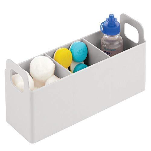 mDesign Förvaringslåda med 3 små fack — Småförvaring med handtag i plast — Badrumsförvaring för tops, bomullstussar och hygienartiklar — Ljusgrå