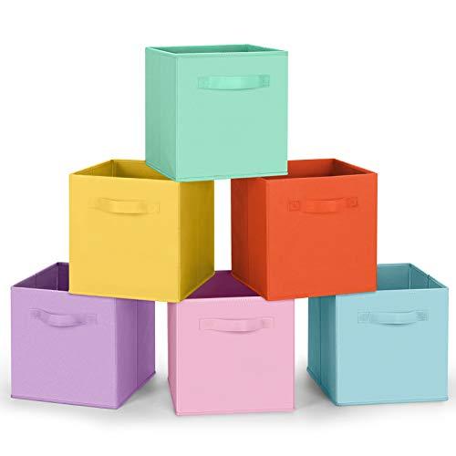 Amazon Brand – Umi Cube de Rangement Tissu, Panier de Rangement, Caisse de Rangement, casier Rangement, Rangement Vetement, Boite de Rangement Tissu, 26,7 x 26,7 x 27,9, Pack de 6, Couleur Pastel
