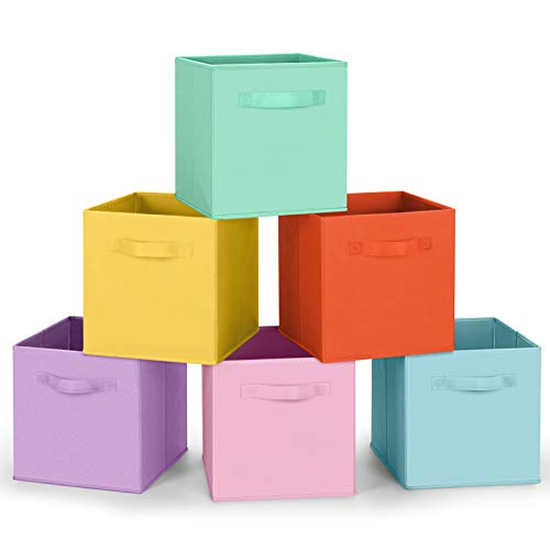 Amazon Brand – Umi Set di 6 Contenitore Pieghevole, Scatole per Armadio con 2 Manici, Cubi Cassetti in Tessuto Non Tessuto, Organizer Cesti Giocattoli per Casa, Ufficio, Asilo Nido, Colori Pastello