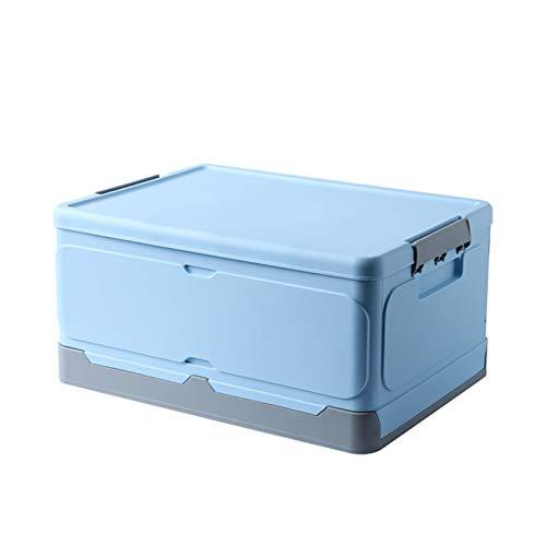 Parshall Cajas de almacenamiento plegables con tapa, contenedor apilable plegable para organizar, ropa, juguetes, libros, aperitivos, zapatos, oficina, hogar azul-2