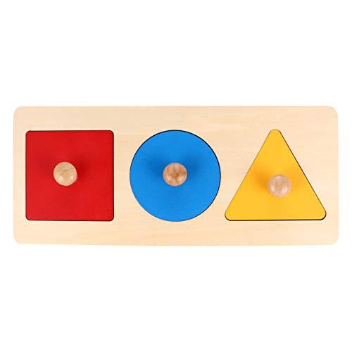 Tomaibaby Puzzle con forma de niño de madera de 1 pieza Puzzle con pomo de madera Montessori mesa de peldaños forma geométrica, juguete educativo para niños