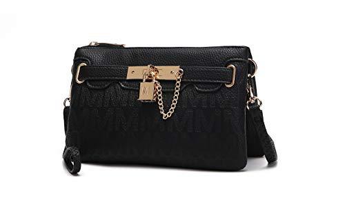 MKF Crossbody Bags for Women, Wristlet Strap – PU Leather Shoulder Handbag – Small Pocketbook Messenger Purse Black