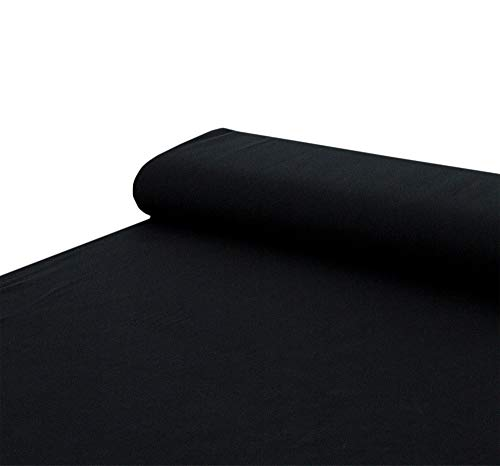 Nadeltraum Baumwoll - Stoff French Terry Sommersweat einfarbig schwarz - Meterware ab 25 cm x 150 cm - Stoff zum Nähen