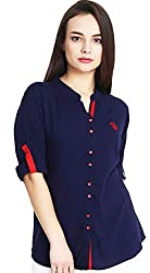 Mitaha Navy Blue Shirt Women Girls Boat Neck Embroidered Rayon Cotton Top/Shirts for Dailywear Casual Women/Girls Tops