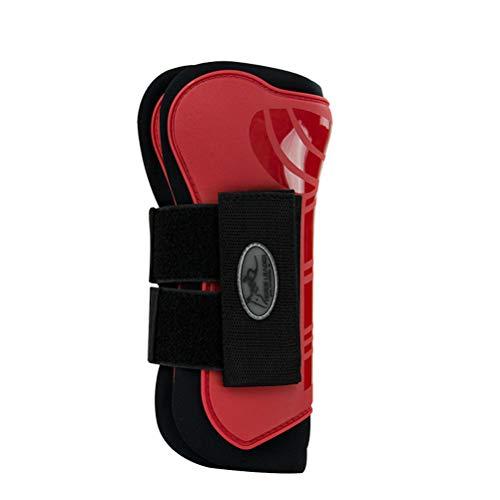 Mahutui Equipment voor professionele benen, meerdere gespen om letsel te voorkomen (set bevat beenbeschermers voor voor en achter), rood