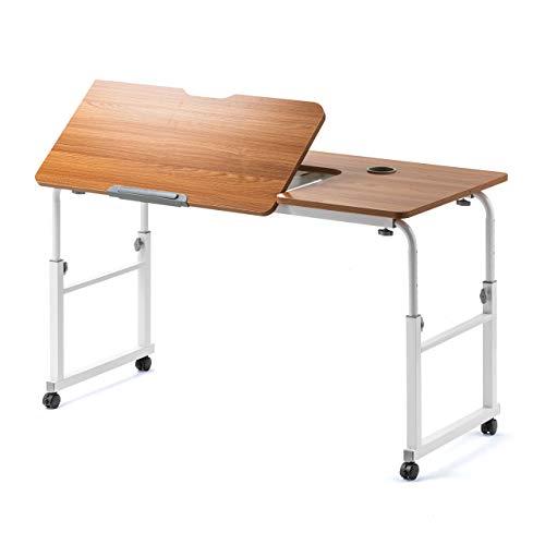 サンワダイレクト パソコンデスク 高さ56~85cm 脚の幅120~196cm 天板角度調整 キャスター付き 天板幅120×奥行60cm モニターアーム取付対応 ベッドテーブル 木目 100-DESKN004M