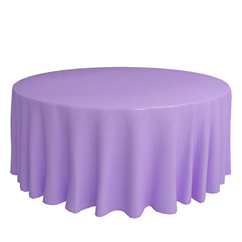 DHY 6 Pack Plastic Tablecloth, Heavy Dut Vinyl Table Covers, Disposable Table Cloth Great for Buffet Table, Parties, Wedding, Holiday Dinner(Lavender, Round(84'))