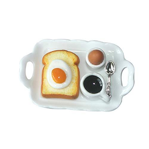 H87yC4ra 1/12 Mini Frühstück Puppenhaus Zubehör, Simulation Ei Toast Essen Frühstückstablett Rollenspiel Spielzeug Mini Puppenhaus Dekoration Für Kinder Erwachsene Eiertoast