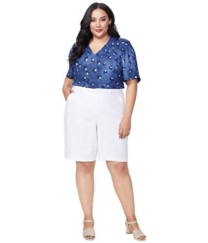 NYDJ Plus Size Plus Size Bermuda Shorts in Stretch Linen in Optic White Optic White 16W 11
