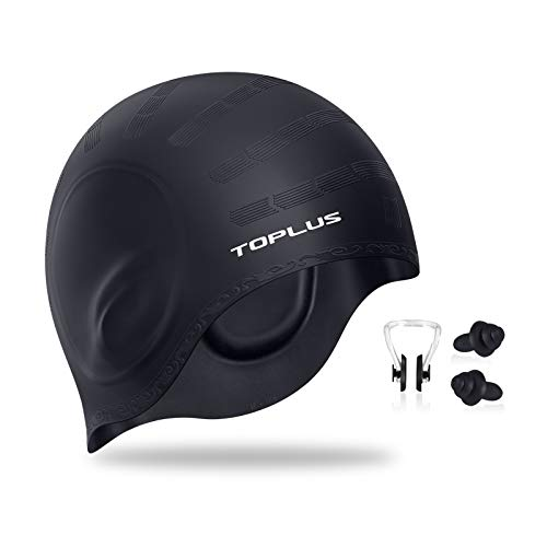 TOPLUS Swim Cap, Durable Silicone Swimming Cap Cover Ears, 3D Ergonomic Design Swimming Caps for Women Kids Men Adults Boys Girls with Nose Clip &...