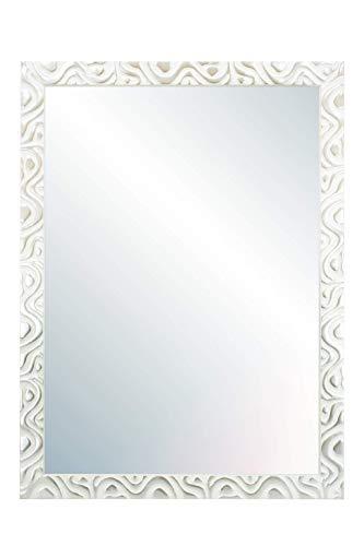 Chely Intermarket, Espejo de Pared Cuerpo Entero 60X80 cm(69x89cm)/Blanco-Plata/Mod-144, Ideal para peluquerías, salón, Comedor, Dormitorio y oficinas. Fabricado en España. Material Madera.