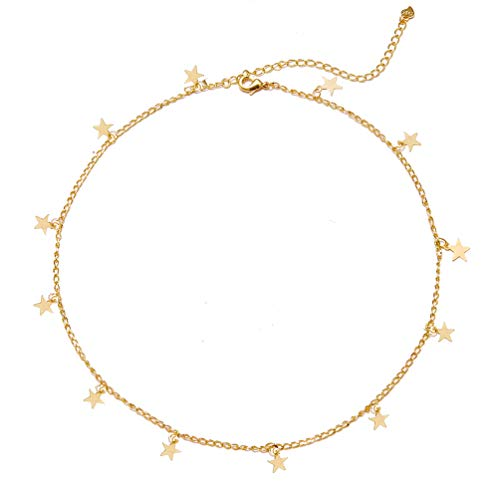 Star Choker Necklace Gold Star Necklace Choker for Women Silver Star Necklace Dainty Choker Necklace Jewelry Gift (Gold1)