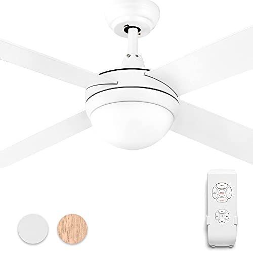 YITAHOME Ceiling Fan with Light 52 Inch Modern Ceiling Fan with Remote Control 4 Reversible Blades, Dimmable 6000K LED, 4 Timing, Fan Light for Indoor, White (Renewed)